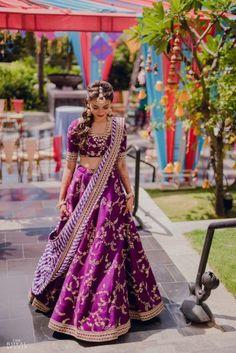 Gorgeous Chennai Bride In Beautiful Purple Alongside Dreamy Decor!   WedMeGood