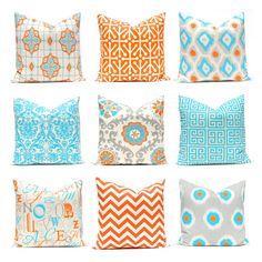 Orange Pillow Covers, Turquoise Pillows, Chevron Pillow, Decorative Throw Pillow Covers, Orange Turquoise, Cushion Covers, Southwest Decor