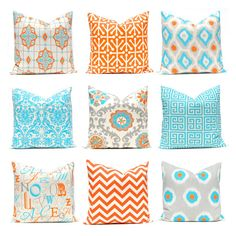 Hey, I found this really awesome Etsy listing at https://www.etsy.com/uk/listing/121158405/orange-turquoise-pillows-decorative