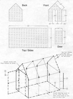 free pvc greenhouse plans Pitched roof PVC greenhouse. Could also make a kids play house for the summer...