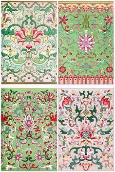 Varias composiciones en el principio fragmentaria.  El patrón superior de la izquierda es de esmalte cloisonné, los otros de jarrones de porcelana pintadas.  De ejemplos de ornamento chino, por Owen Jones, Londres, 1867.  (Fuente: archive.org)