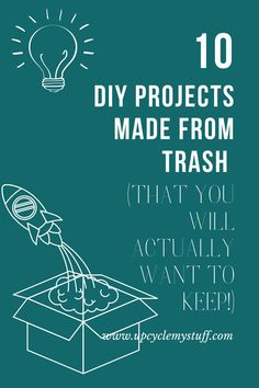 Turn your actual trash into treasure with these fun and easy DIY projects.  Upcycle junk and garbage that you would otherwise throw out or put in the recycling bin.  Fun home decor ideas including a footstool, trinket bowls, photo display board, earrings and more.  Make projects you will actually want to keep and wear from cardboard, plastic bottles, coke cans, plastic tubs, takeaway containers, plastic bags and more.  What will you make?  #upcycling #repurposing #diyprojects #beforeandafter