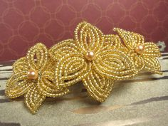Golden Dunes - French Barrette or Comb - French Beaded Flower French Beaded Flowers, Wire Flowers, Gold Flowers, Hair Barrettes, Hair Clips, Hair Beads, Tea Roses, Beading Tutorials, Seed Beads