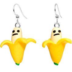 Handcrafted Silver Plated Grumpy Banana Yum Yum Fishhook Earrings