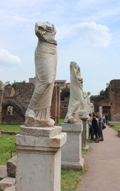 Statues in the gardens of the Roman Forum in Rome, Italy. Beautiful and historical.