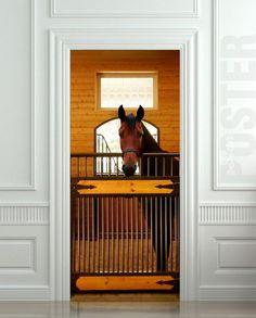 GIANT Door Wall STICKER decole horse stole stable country poster 31x79 (80x200 cm) | pulaton - Print on ArtFire & Door or Fridge STICKER horse mural decole film poster skin wrap ...
