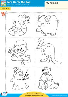 """Let's Go To The Zoo"" Color, Cut, & Paste Worksheet from Super Simple Learning. #preK #Kindergarten #ESL"