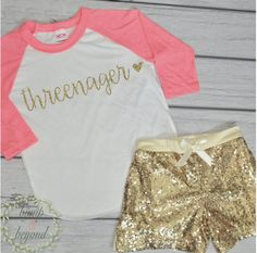 Threenager Shirt Kids Birthday Shirt Tiny Teenager Shirt Hipster Kids Birthday Outfit Trendy Girl Girl Clothes Third Birthday Outfit 235 #3rd_birthday_outfit #Children #Clothing