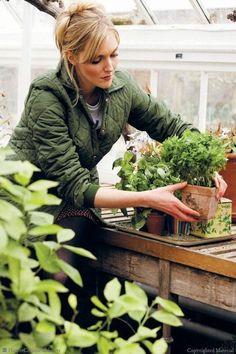 The Gardener in her greenhouse.