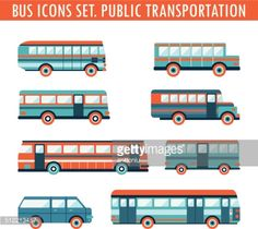 Vector Art : Bus icons set. Public transportation