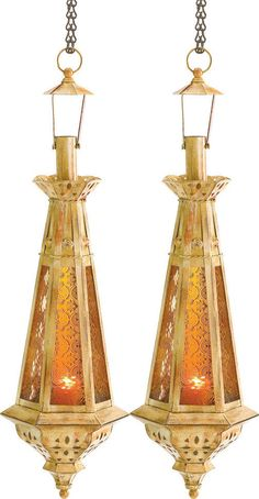 Amber Teardrop Lantern Moroccan Hanging Candle Lamp 23 Inches Tall 2 pc Lot #Unbranded