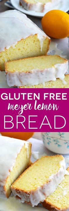 Gluten Free Meyer Lemon Bread (and dairy free) - This easy bread recipe is brightened up with fresh Meyer Lemon juice and zest - it's the perfect sweet citrus recipe. Quick bread recipe from @whattheforkblog | whattheforkfoodblog.com | gluten free breakfast recipes | gluten free baking | gluten free bread recipes | Meyer Lemon recipes #Meyerlemon #glutenfree #dairyfree #glutenfreebread #teatime #glutenfreebaking #glutenfreerecipes #quickbread