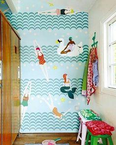 Mermaids  Swans  Swimcaps  I'm in #summer love...  #commanderinchic #InteriorDesigner #rva #interior #design #interiors #home #decor #homedecor #bespoke #designhounds #interiordesign #coastal #style #sea #seaside #beach #swim #swimming #pool #swimwear #mermaids #swans #girls #instainteriors #trending #house #decorate  @Regrann from @designcentrech - Brian Yates' 'Rice' #wallpaper