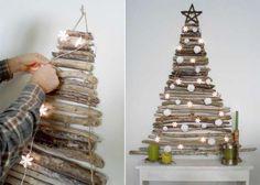 Manualidades navideñas: Ideas creativas - Árbol de Navidad creado con troncos de…
