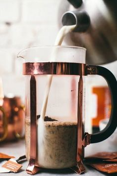 Easy Hazelnut Chocolate French Press Latte made with Stash Tea Chocolate Hazelnut Decaf Tea!