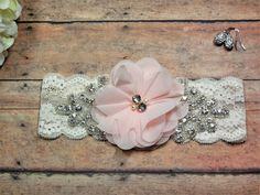 Blush Pink Garter, Rhinestone garter, Bling Garter, Garter, Pink Garter, Keepsake Garter, Wedding Garter, Brides Garter, Bride, Wedding by BloomsandBlessings on Etsy