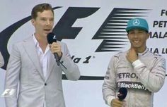 Ben interviewing friend, Lewis Hamilton after his win at the Malaysian Grand Prix