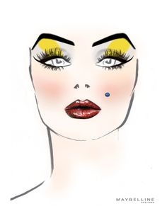 Make-up Sketch: Betsey Johnson The isnt mine. it belongs to Maybelline. but I create this makeup look and lead the for this ´s show in Very risky. Maybelline, Makeup Face Charts, Face Sketch, Beauty Illustration, Draw On Photos, Beauty Consultant, Blusher, Makeup Forever, Beauty Editorial