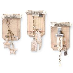 Create dangles with leftover beads and embellishments, then present them on a journaling card for maximum appeal. Artwork by Lynne Moncrieff inside Somerset Studio.