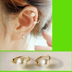 Simply Pearl Ear Cuffs Set (No Piercing, Adjustable)