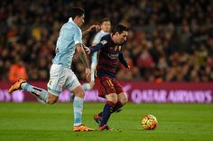Barcelona's Argentinian forward Lionel Messi (R) vies with Celta Vigo's Chilean midfielder Pablo Hernandez during the Spanish league football match FC Barcelona vs RC Celta de Vigo at the Camp Nou stadium in Barcelona on February 14, 2016