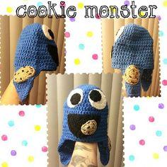 Cookie monster crochet beanie