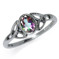 Mystic Fire Topaz 925 Sterling Silver Triquetra Celtic Knot Ring RN0079011 SilverShake.com