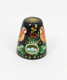 Russian Lacquer Hand Painted Thimble 1307 Birds   eBay