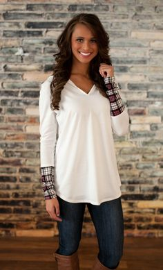 The Pink Lily Boutique - White Plaid Hooded Sweater, $38.00 (http://thepinklilyboutique.com/white-plaid-hooded-sweater/)