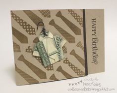Cute male birthday card with a creative way to include money...