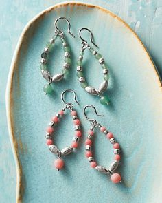 "$118  Chan Luu Gemstone Hoop Earrings Green aventurine or salmon coral adorn lightweight sterling silver hoops — they're the ones to reach for when all that's missing is a pop of color. Imported.  Size: 1 3/4"" drop"
