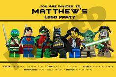 Batman, Superman, Clutch Powers, Ninja Turtles, Star Wars, Lone Ranger Lego Birthday Invitation