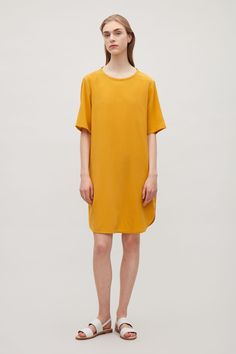 f09cbd73ab4 COS image 6 of Oversized silk t-shirt dress in Yellow Yellow T Shirt