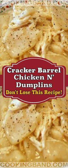 Cracker Barrel Chicken N' dumplins Meat Recipes, Crockpot Recipes, Chicken Recipes, Cooking Recipes, Copycat Recipes, Recipies, Dinner Recipes, Chicken Marinades, What's Cooking