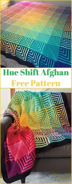Crochet Hue Shift Afghan Blanket Free Pattern - Crochet Block Blanket Free Patterns I like the pattern used for the color choices Crochet Afgans, Knit Or Crochet, Crochet Crafts, Crochet Projects, Free Crochet, Crotchet, Crochet Ideas, Afghan Crochet Patterns, Crochet Stitches