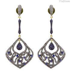 Blue Sapphire Gemstone Dangle Earrings Diamond Pave Jewelry .925 Silver 14k Gold #Handmade #DropDangle