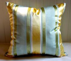 Citron, Celadon and Green Striped Pillow Cover / 18 X 18 / Designer Pillow Cover