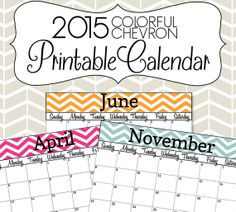 2015 Calendar Printable - Colorful Chevron Calendar - (With Editable Date Boxes) INSTANT DOWNLOAD