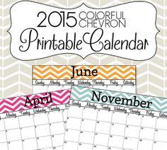 2015 Calendar Printable - Colorful Chevron Calendar - (With Editable ...