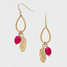 Boho Chic Goldtone Teardrop Feather & Hot Pink Accented Dangle Earrings