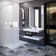 Cedam bathroom furniture - tailor-made Extenso range. black and white trend - Bathroom 01 Marble Bathroom Floor, White Master Bathroom, Black White Bathrooms, Bathroom Black, Bathroom Furniture, Bathroom Interior, Modern Bathroom, Modern Basement, Bathroom Trends