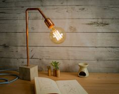 Industrial concrete copper table lamp, Industrial lamp, Desk lamp, Copper lamp, Concrete, Edison lamp, Concrete light, Table lamp CC02