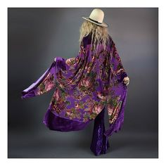 """To-die-for bohemian babe duster!  Stunning violet colored silk velvet burnout fabric has that dreamy stained glass effect.  Vintage inspired floral motif with scattered hand beading throughout. The drape and quality of the fabric is truly stunning! Super easy loose fit with long side slits and frog closures giving you an option to wear open or closed. So many ways to style this effortless and timeless beauty! One SizeMeasurements:Shoulder 18""""Bust up to 44""""Lengt..."""