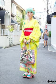 Kumamiki, 23 years old, designer (in her own Kimono design) | 18 September 2013 | #Fashion #Harajuku (原宿) #Shibuya (渋谷) #Tokyo (東京) #Japan (日本)