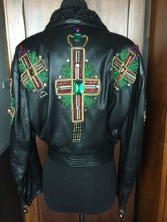 Vintage-Gianni-Versace-Leather-Jacket-W-Jeweled-Crosses-From-91-92-Collection