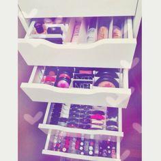 .@ashtagmakeuplovee | throwback old ikea Alex 9 drawer organization | Webstagram