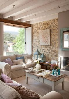 Interior Home Design Trends For 2020 - New ideas Living Room Sofa Design, Living Room Decor, Country Interior, Stone Houses, Home Staging, Home And Living, Sweet Home, New Homes, House Design