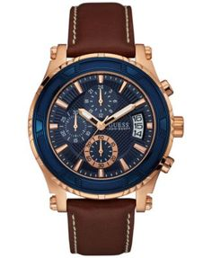 GUESS Men's Chronograph Brown Leather Strap Watch 46mm U0673G3