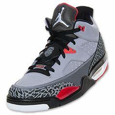 Men's Jordan Son of Mars Low Basketball Shoes | FinishLine.com | Cement Grey/Black/Gym Red/White