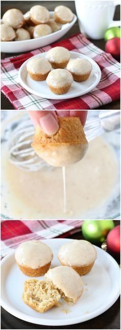Mini Egg Nog Doughnut Muffins Recipe on twopeasandtheirpod.com Love ...